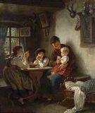 EW 0447 – Mutter mit drei Kindern beim Tischgebet