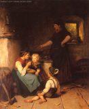 EW 0016 – Großmutter und drei Kinder am Herd