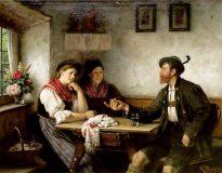 EW 0153 – Bursche mit zwei Frauen am Tisch