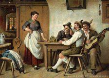 EW 0156 – Wirtshausszene mit drei Männern und junger Frau