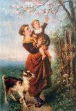 EW 0157 – Mutter mit Kind und Ziege am blühenden Baum
