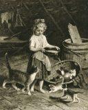 EW 0171 – Mädchen mit Milchschüssel und Katzen