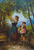 EW 0253 – Mutter mit zwei Kindern in der Weinlaube