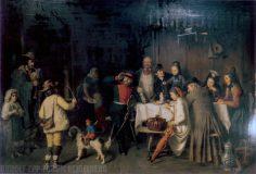 EW 0262 – Stube mit Musikern, Gauklern und Publikum