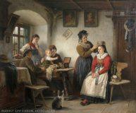 EW 0065 – Familie in Stube beim Schmücken der Braut