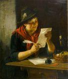 """EW 0086 – Mädchen mit Schreibzeug und Brief (""""An den Schatz"""")"""