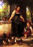 EW 0017 – Mutter und Kind beim Hühner füttern