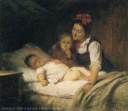 EW 0021 – Zwei Geschwister am Bett eines schlafenden Kleinkinds