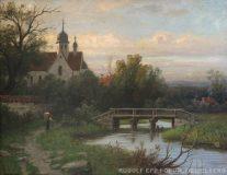EW 0025 – Landschaft mit Bach, Brücke und Dorf