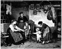 EW 0028 – Großmutter, Mutter und drei Kinder in Stube