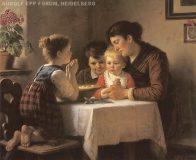 EW 0051 – Mutter mit drei Kindern beim Tischgebet
