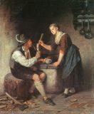 EW 0060 – Bursche und junge Frau am Herd