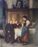 EW 0062 – Herren mit junger Frau am Tisch