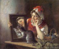 EW 0072 – Mädchen mit Spiegel und Katze