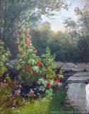 EW 0073 – Gartenecke mit Malven