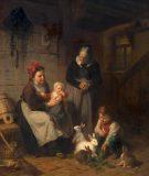 EW 0129 – Großmutter, Mutter und zwei Kinder mit Hasen