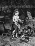 EW 0154 – Mädchen mit Milchschüssel und Katzen