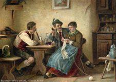 EW 0155 – Zwei Burschen und strickende Frau am Tisch