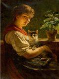 EW 0184 – Junge Frau mit Katze