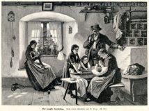 "EW 0219 – Familie mit drei Kindern in Stube (""Der jüngste Sprößling"")"
