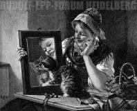 EW 0256 – Mädchen mit Spiegel und Katze