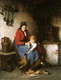 EW 0257 – Mutter mit Kind und Hühnern am Herd