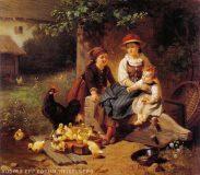 EW 0261 – Drei Kinder mit Küken