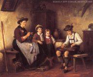 EW 0279 – Mutter mit zitherspielendem Knaben und zwei weiteren Kindern