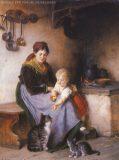 EW 0286 – Mutter mit Kind und Katzen am Herd
