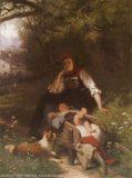 EW 0295 – Mutter mit Kind auf Schubkarre