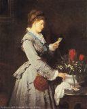 EW 0296 – Lesende Dame mit Blumen