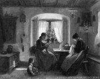 EW 0301 – Zwei Frauen mit Kind bei der Handarbeit am Fenster