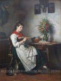 EW 0312 – Strickendes Mädchen am Tisch