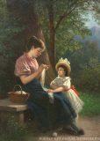 EW 0318 – Strickende Mutter mit Kind im Freien