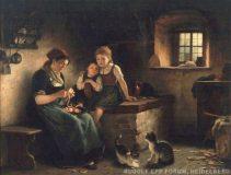 EW 0320 – Äpfel schälende Mutter mit zwei Kindern am Herd