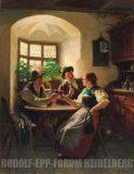 EW 0338 – Zwei Burschen und junge Frau in der Stube