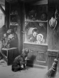 EW 0346 – Hund vor einer Ladentür mit Kindern