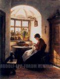 EW 0365 – Nähendes Mädchen am Fenster