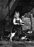 EW 0370 – Mädchen mit Milchschüssel und Katzen