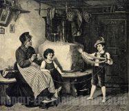 EW 0382 – Großmutter mit zwei Kindern beim Wolle aufwickeln