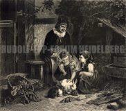"""EW 0384 – Großmutter und zwei Kinder mit Hasen (""""Spielgenossen"""")"""