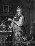 """EW 0389 – Lesendes Mädchen mit Katze (""""Sanfte Mahnung"""")"""