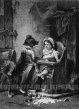 """EW 0390 – Kleinkind mit Hund und verschütteter Milch (""""Der unwillkommene Gast"""")"""