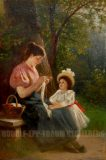 EW 0394 – Strickende Mutter mit Kind im Freien