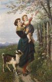 EW 0413 – Mutter mit Kind und Ziege am blühenden Baum