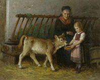 EW 0436 – Großmutter und Kind mit Kälbchen