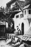 EW 0441 – Frau bei der Wäsche vor einem Haus