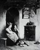 EW 0442 – Mutter mit Kind und Katzen in der Küche