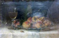 EW 0455 – Stillleben mit Pfirsichen und Weinglas