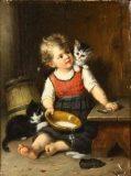 EW 0188 – Mädchen mit Milchschüssel und Katzen